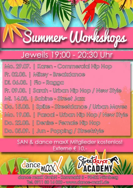 Tanzstudio dance maxX Nürnberg Summer Workshop 2019